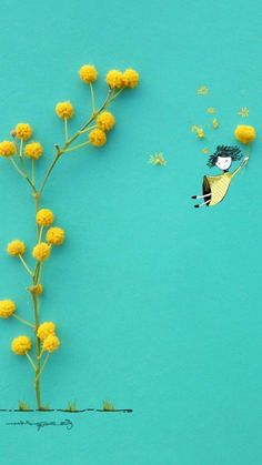 Fly with flower