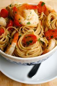 sauteed shrimp w/white wine over whole wheat linguine