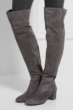 Gianvito Rossi - Suede Over-the-knee Boots - Gray - IT36.5