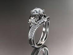 Platinum diamond floral wedding ringengagement by anjaysdesigns, $2635.00