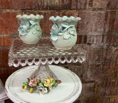 Gorgeous Pair of Sand Majolica Vases In Aqua   $48   Dallas Vintage Market Booth #7777  White Elephant 1026 N. Riverfront Blvd. Dallas, TX 75207   Read more: http://dallas.ebayclassifieds.com/home-decor/dallas/gorgeous-pair-of-sand-majolica-vases-in-aqua/?ad=39892658#ixzz3dNqKN7E2