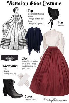 How to make an easy women's Victorian costume dress with items in your closet.Using a full skirt, blouse, belt and accessories you will look Victorian in no time. Victorian Era Dresses, Victorian Era Fashion, 1800s Fashion, Victorian Costume, Vintage Fashion, Victorian Outfits, Victorian Halloween, Victorian Gothic, Vintage Halloween