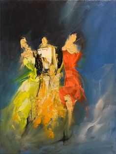 Friends - Peinture, 30x40x2 cm ©2016 par Ana Mutavdzic - Art abstrait, Toile, Femmes