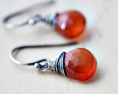 Rust Stone Earrings Dark Tomato Red Chalcedony by PoleStar on Etsy