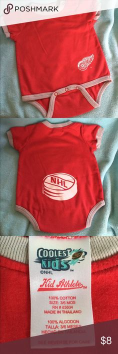 Detroit redwings baby onesie Great condition size 3/6 months. One Pieces