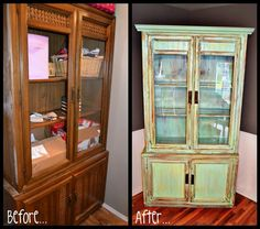refurbished china hutch love the distressed look maybe in a red.