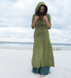 Organic Long Hooded Fleece Dress (hemp/organic cotton fleece)