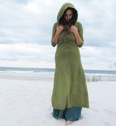 Organic Long Hooded Fleece Dress hemp/organic by gaiaconceptions, $165.00
