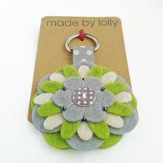 Felt Flower Keyring Bag Charm in Lime and Grey £8.00