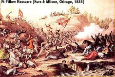 The Battle of Fort Pillow, also known as the Fort Pillow massacre, was fought on April 12, 1864, at Fort Pillow on the Mississippi River in Henning, Tennessee, during the American Civil War. The battle ended with a massacre of Federal troops, most of them of African origin, while attempting to surrender, by soldiers under the command of Confederate Major General Nathan Bedford Forrest, future Grand Wizard of the Ku Klux Klan.