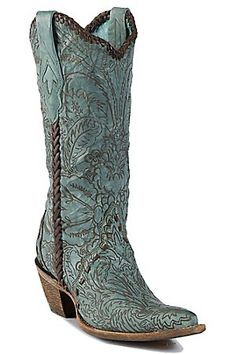 """Corral Ladies 13"""" Vintage Turquoise w/ Engraved Lace Tool Pointed Toe Western Boot"""
