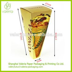 Precio de fábrica Cartón Logotipo Personalizado Pizza Cono de Papel Cuadro Titular