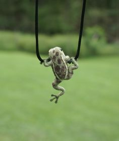 Tiny Frog Necklace - needle felted