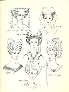 "Lancaster (1430-1460): Heart-shaped and Turban Headdresses. Heart-Shaped: They were crafted by goldsmiths, using rich fabrics and a gold mesh, usually set with needlework and jewels. The headdresses were so rich they were often mentioned in wills.  Fig. 51 and 52 showcase a style in which a padded roll of fabric frames the face. Turban"" this style was popular throughout the 15th century. It's influence was Turkish. They were light, made of wire mesh and fabric."