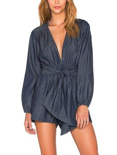 b432e5b2d81 asmax Blue Sexy Deep V Neck Slim Short Jumpsuit Lantern Sleeve Casual Solid  Romper Lace Up Tie Waist Pleated Playsuit