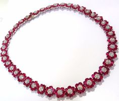 Cluster Limit. 48.00ct. Natural Ruby & 4.66ct diamonds necklace. The Victorian Elegance. Oval Shapes, Full cut clean clarity and transparent. The classic Vivid Red. 248 Rubies 4.66 Natural diamonds. R
