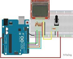 This post is a complete guide for Nokia 5110 LCD with Arduino. I'll explain what it does, show its specs and share an Arduino project example. Arduino Lcd, Arduino Board, Iot Projects, Arduino Projects, Hobby Electronics, Electronics Projects, Hack Internet, Circuit Diagram, Cool Gadgets