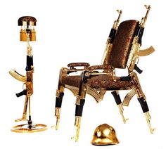 Give Tony Montana's interior decorator a run for her money by adding this luxurious gold-plated chair to your trap house's decor. It's upholstered with extravagant English and Italian hand woven fabric and accented with real gold plated Unusual Furniture, Luxury Furniture, Welding Works, Art Object, Plate Sets, Furniture Collection, Plaque, Chair Design, Making Out
