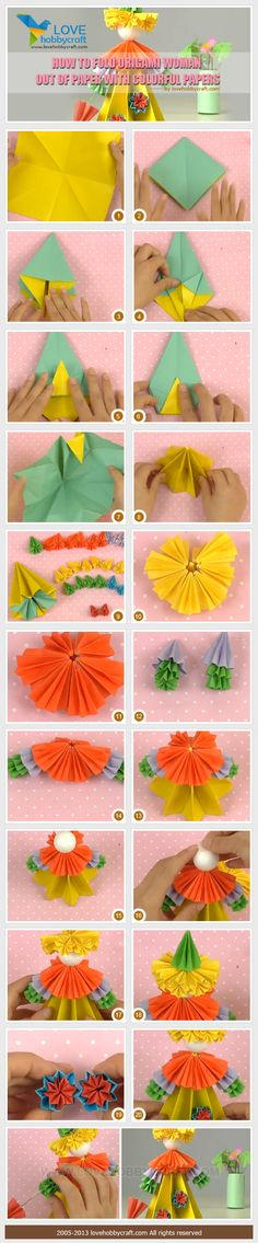 How-to-fold-origami-woman-out-of-paper-with-colorful-papers