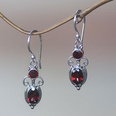 Garnet dangle earrings, 'Crown Princess'. Shop from #UNICEFMarket and help save the lives of children around the world.