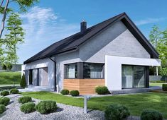 Projekt domu HomeKoncept-45 G2 118,49 m² - koszt budowy - EXTRADOM Gable House, House Cladding, Passive House, Steel Buildings, Home Design Plans, Home Fashion, Home Projects, House Plans, Outdoor Structures