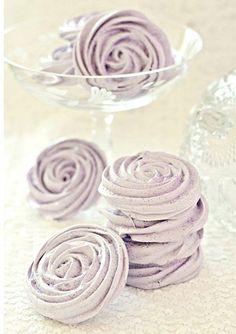Lavendar meringue-rose - Read more on One Fab Day: http://onefabday.com/meringue-wedding/
