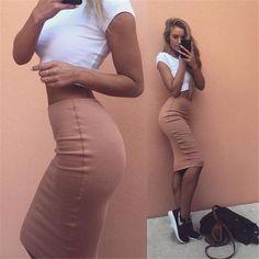 Fashion White Top Bodycon Skirt Set Two-Piece