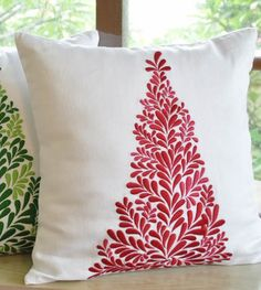2013 Christmas Tree Decorative Pillow Covers, Holiday Christmas Couch Pillow Cover, Embroidered Pillow Case