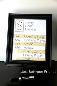 Family Home Evening Charts | Just Between Friends