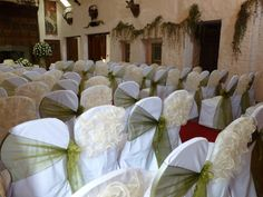 Wedding Chair Covers And Bows South Wales Dining Seat Pad Champagne Frills Mixed With Olive Organza Miskin Manor Hotel Supplied Dressed By Simply