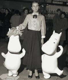 Tove Jansson, the artist, with her Moomin characters, 1956
