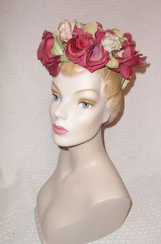 50s 60s Vintage Half Hat with Burgundy Roses by MyVintageHatShop