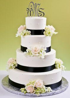 Four Tier Silver Monogram Wedding Cake Monogram Cake, Monogram Wedding, Wedding Cake Display, Wedding Cakes, Wedding Flavors, Just Cakes, Cake Gallery, Bridal Sash, Cupcake Cakes
