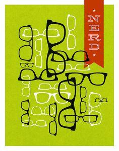 Nerd Horn Rimmed Glasses Print