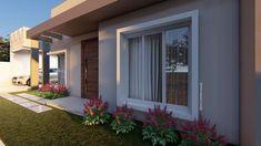 Fachadas de Casas Pequenas: 50 Ideias, Dicas e Projetos incríveis! Modern House Plans, Modern House Design, House Front, My House, Bungalow Haus Design, Balcony Design, House Goals, Door Design, My Dream Home