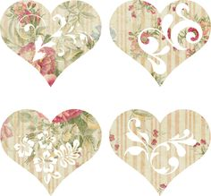 Cottage Crafts: 8 sets of pretty hearts to use in your art