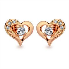 $9.99   Golden peach heart diamond earrings               The perfect combination of golden peach heart with rhinestones a very beautiful earrings