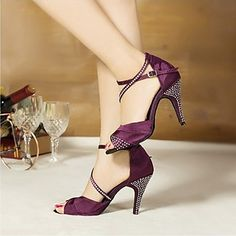 Customized Women's Satin Crystal Ankle Latin Dance Sandals Shoes(More Colors) – USD $ 26.94