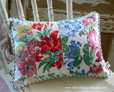 Vintage tablecloth pillow by Into Vintage