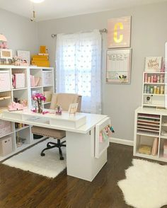 29 best ideas craft room inspiration small spaces home best ideas craft room inspiration small spaces home office Perfect Ikea Craft Room Table With Storage Ideas - Best IKEA Craft Room Table Home Office Space, Home Office Design, Home Office Decor, Home Decor, Office Spaces, Apartment Office, At Home Office Ideas, Pink Office Decor, White Desk Office