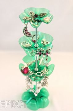 Need a jewelry stand? Make one yourself from old Mountain Dew bottles!