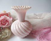 Vintage Fenton Rose Pink Milk Glass Swirl Vase