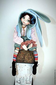 Купить Зайчишка Эмили. - голубой, кукла интерьерная, кукла в подарок, зайка, винтаж, самоотвердевающий пластик
