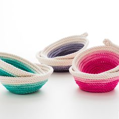 """Add a serious pop of color to your kitchen with these DIY rope bowls.  We give you 30ft. of cotton rope to make either two snack bowls or one large fruit bowl.   <strong>Kit Includes:</strong> •  30 feet Cotton Rope •  Fabric Dye •  Popsicle Stick •  Hot Glue Gun •  Glue Sticks  Check out the full tutorial <a href=""""http://www.brit.co/diy-rope-bowls"""">HERE</a> for detailed step-by-step instructions.  Makes two snack bowls or one large fruit bowl."""