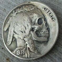 """The hobo nickel is a sculptural art form involving the creative modification of small-denomination coins, essentially resulting in miniature bas reliefs. The nickel, because of its size, thickness,. Memento Mori, Crane, Post Mortem, Totenkopf Tattoos, Hobo Nickel, Coin Art, Arte Horror, Skull And Bones, Gravure"