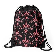 Lotus by Lelyely  #pattern #pink #black #drawstringbag #lelyely #redbuble #lotus #flower #princess