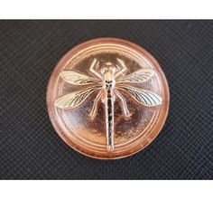 Cabochon Rosaline with Silver Dragonfly