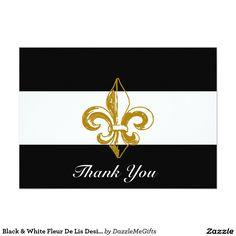 Black & White Fleur De Lis Design Thank You Card