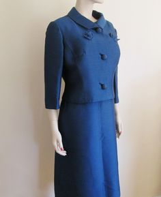 Blue Wiggle Suit Silk Faille Vintage 1950's Dress Bolero Jacket Belt L