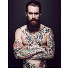 Ricki Hall - full thick dark beard and mustache beards bearded man men mens' style shirtless chest tattoos tattooed bearding #beardsforever